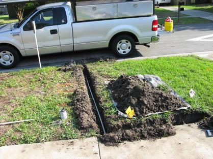 Replacing a zone with new pipe during a Haltom City sprinkler repair job